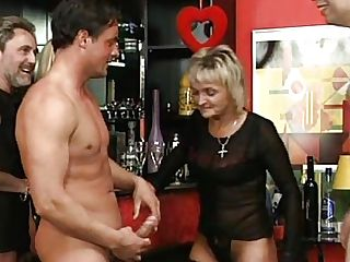Blonde German Granny Loves Fucking Hard In Antique Leather...
