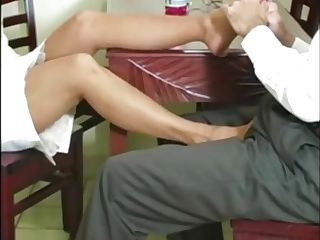 Hot Mummy Roni Gives Her Man A Nylon Footsie Over Dinner